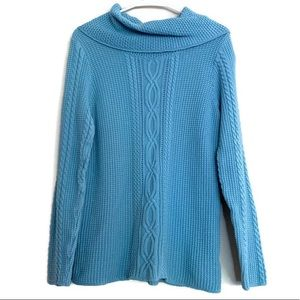 Blue knit sweater cowl neck Jeanne Pierre cotton